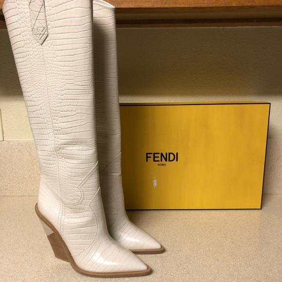 2782cd16885 Fendi 'Cutwalk' Western Tall Boot Milk Sz 41 / 11